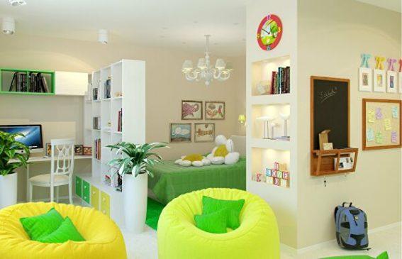 интерьер детской с бескаркасной мебелью
